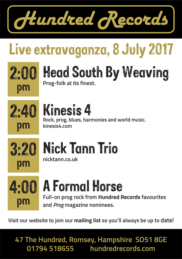 Live line-up 8 July 2017