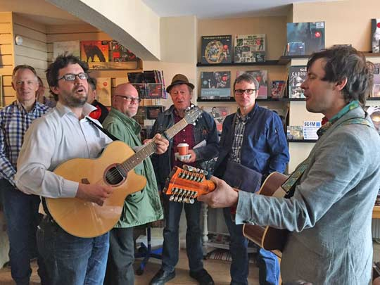 The Dreaming Spires entertain the crowds during Record Store Day 2015 at Hundred Records